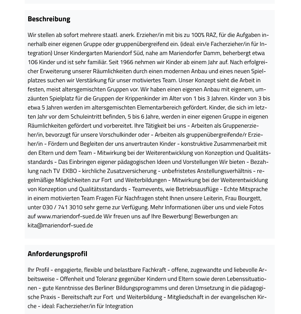 Kostenlose Jobinserate bei stellenanbieter.de